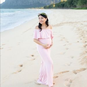 PinkBlush Pink off shoulder maternity maxi dress